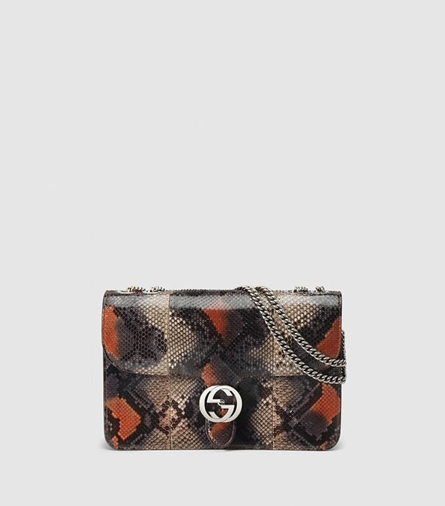 Gucci Interlocking Python Shoulder Bag