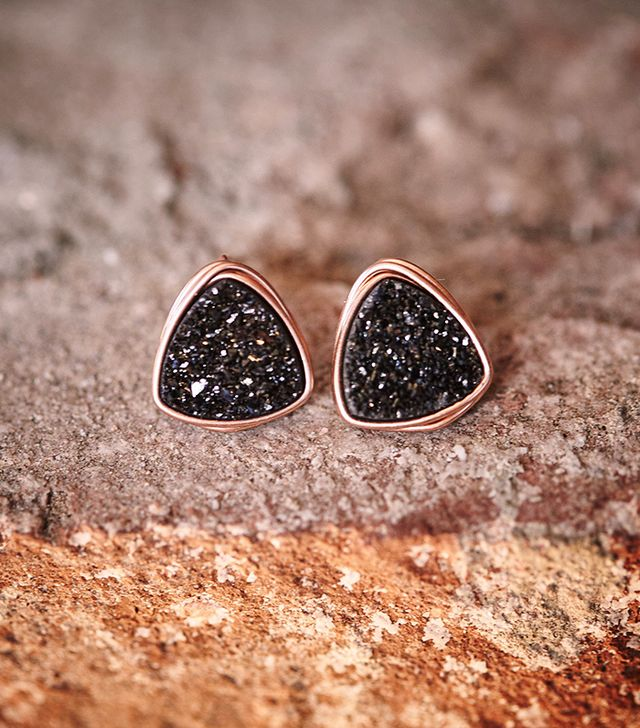 Preserve Exclusive Triangle Druzy Studs With Gilded Rose Gold