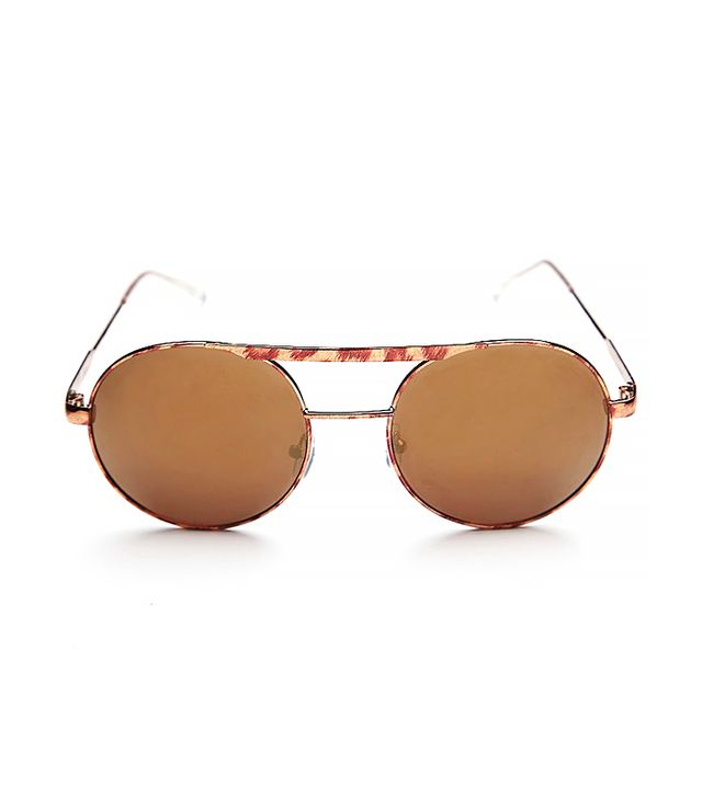 Free People Coastline Aviator Sunglass, Tortoise/Gold