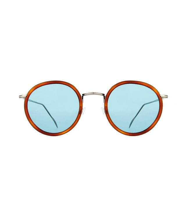 Kyme Matti Round Mirror Sunglasses, Light Brown/Blue