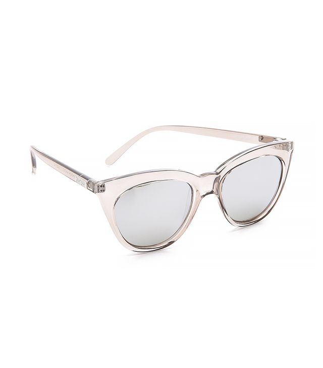Le Specs Half Moon Magic Sunglasses, Stone/Smoke Mono Silver Mirror