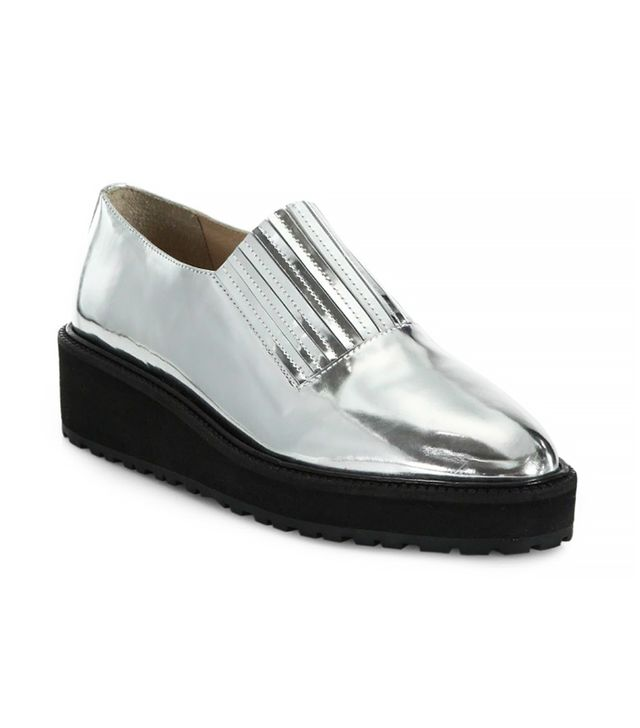 Loeffler Randall Rosa Point-Toe Slip-On Shoes, Silver