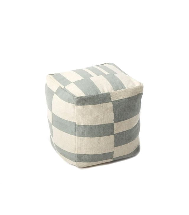West Elm Offset Stripe Mini Pouf