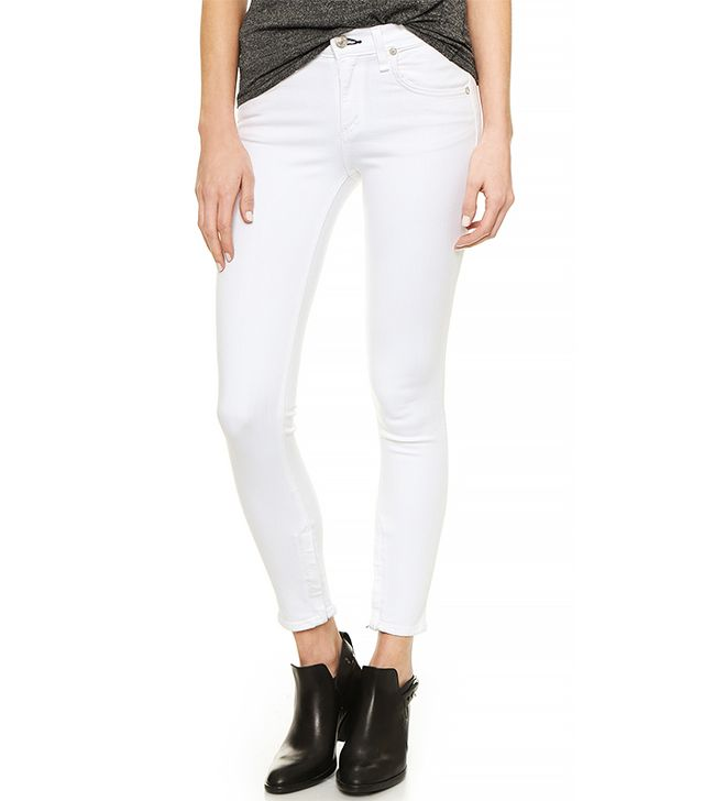 Rag & Bone/Jean Zipper Capri Jeans, Bright White