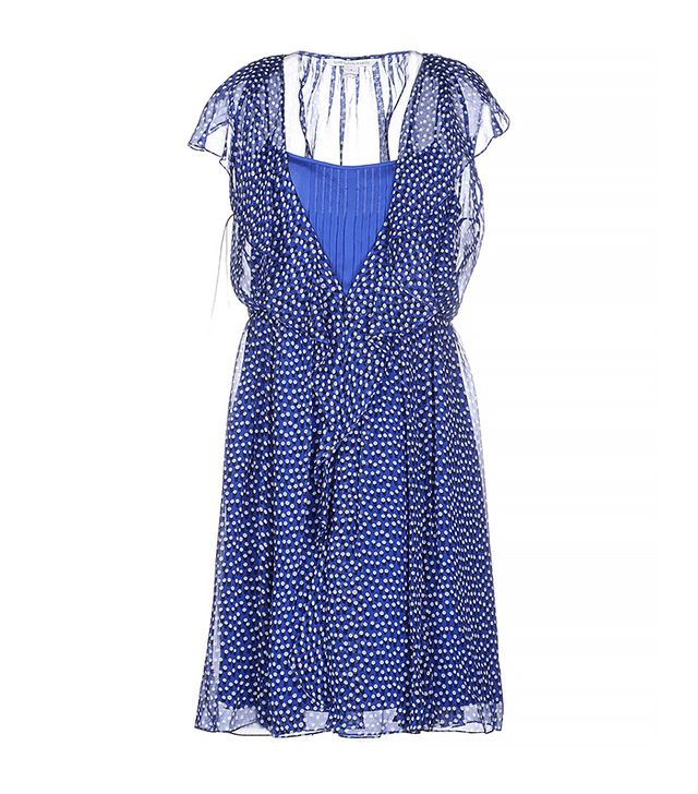 Diane von Furstenberg Chiffon Polka Dot Dress, Blue