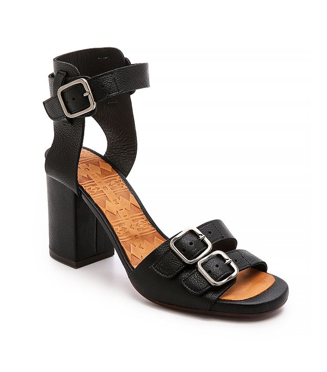 Chie Mihara Shoes Lorena Buckle Sandals, Black