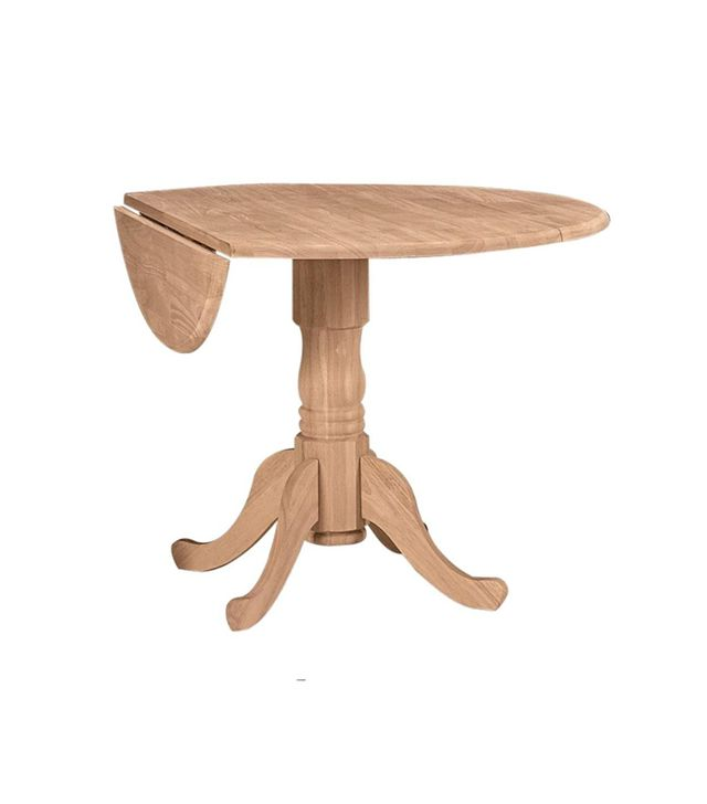 International Concepts Unfinished Solid Wood Round Drop-Leaf Dining Table