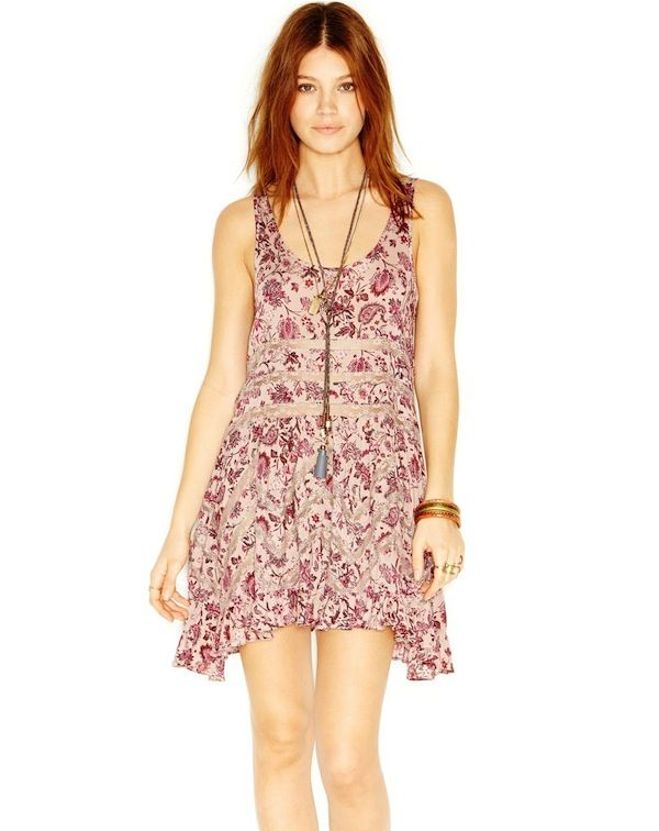 Free People Floral-Print Trapeze Dress