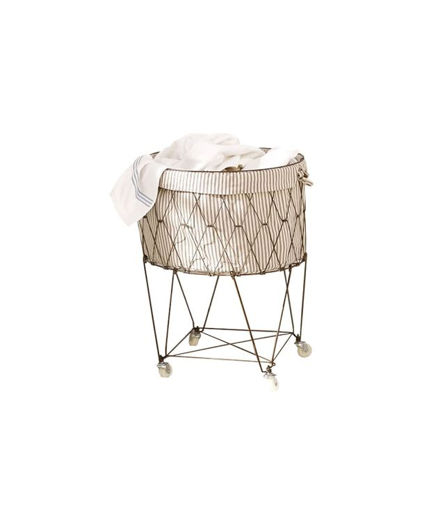 Pottery Barn French Wire Hamper and Liner