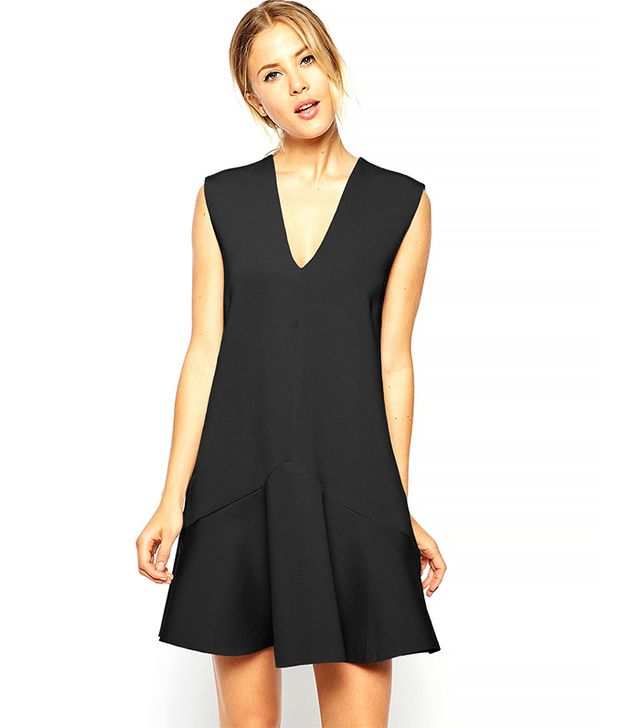 ASOS Bonded Shift Dress With Deep V Neck
