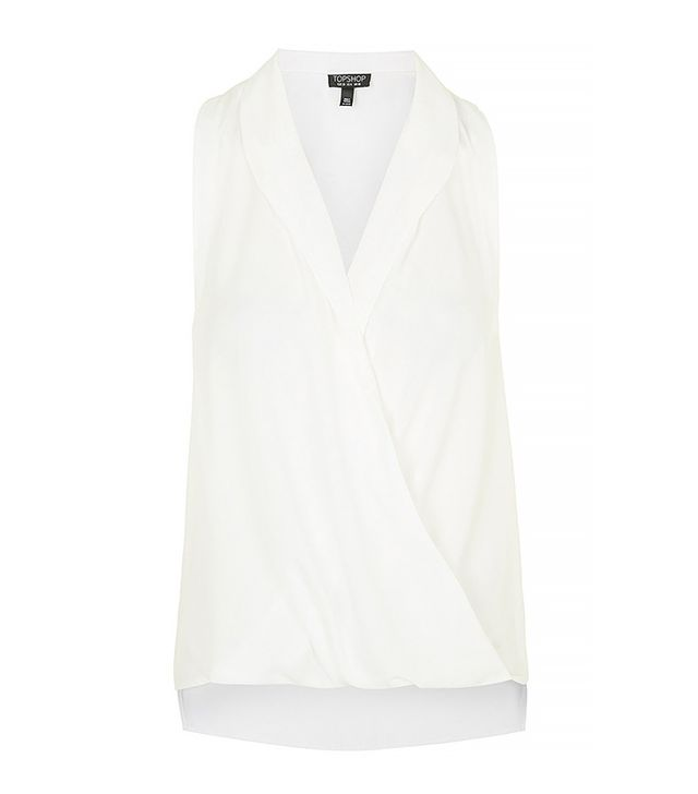 Topshop Sleeveless Drape Blouse