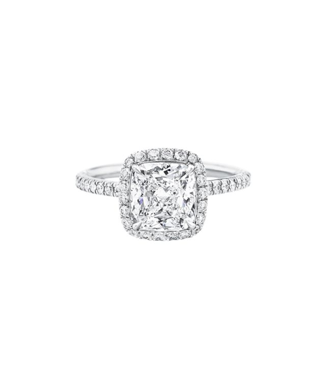 Harry Winston Cushion-Cut Diamond Micropavé Engagement Ring