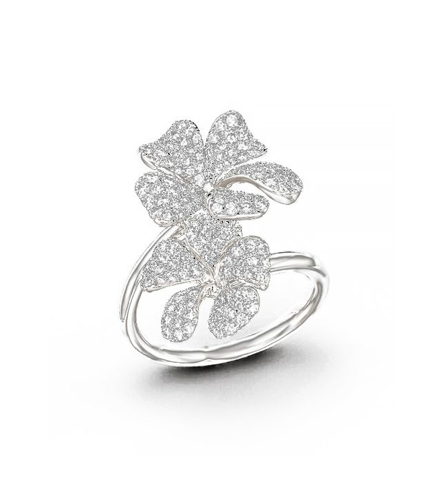 Bloomingdale's Diamond Floral Pavé Ring, White Gold