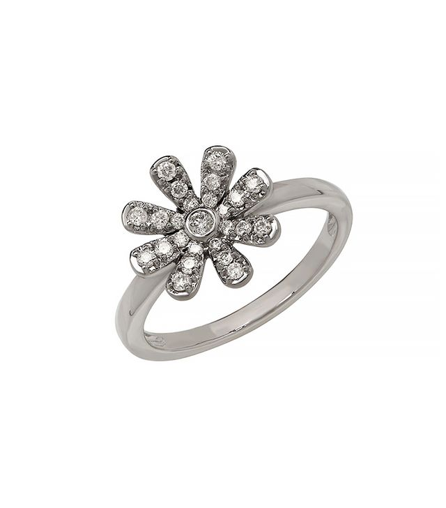 Lord & Taylor Small Diamond Flower Ring, White Gold