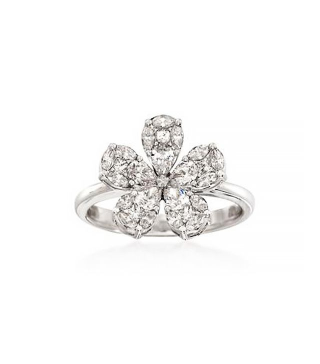 Ross-Simons Diamond Floral Ring, White Gold
