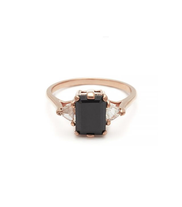 Anna Sheffield Bea Three Stone Ring, Black Diamond and Rose Gold