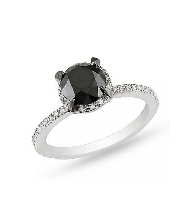 Zales Enhanced Black and White Diamond Solitaire Ring, White Gold