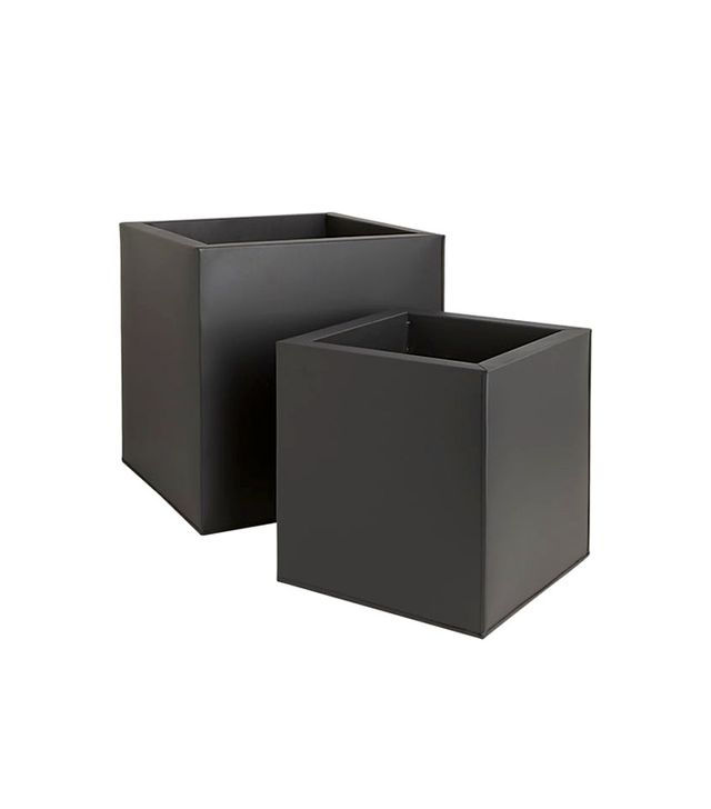 CB2 Box Galvanised Matte Black Planters