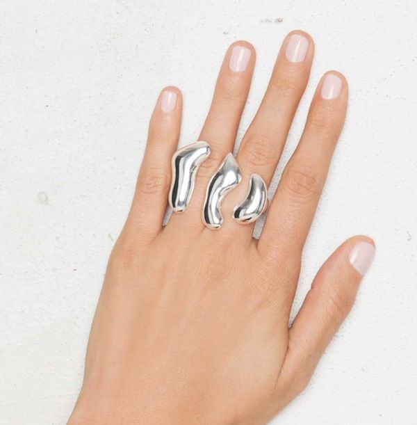 Nastygal Molten Metallic Two-Finger Ring