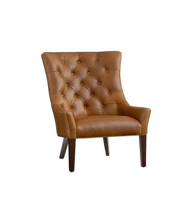 Pottery Barn Hayes Tufted Leather Chair
