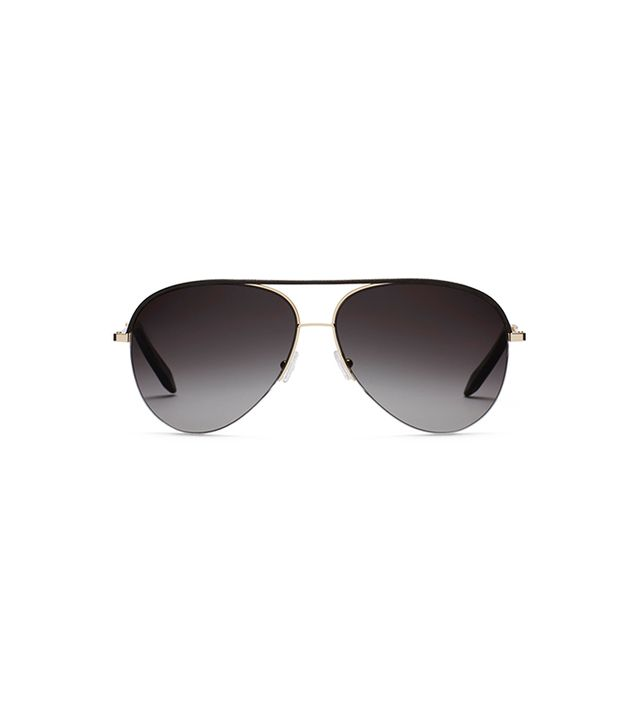 Victoria Beckham Classic Victoria Black Leather Sunglasses