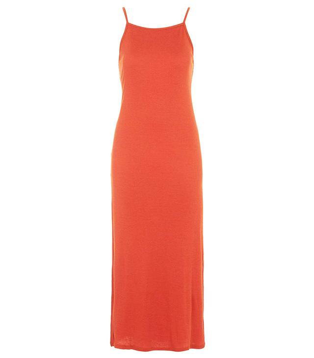 Topshop Square Neck Ribbed Maxi Dress