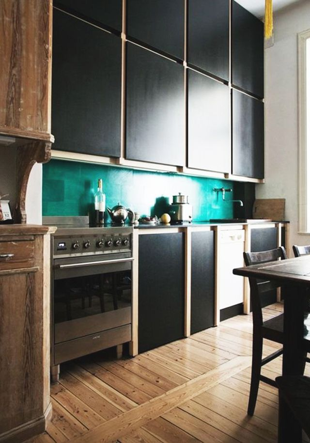 To see more of this color combination, visitApartment Therapy.  Join the trend with our favorite black and green kitchen accessories below.  Would you install...