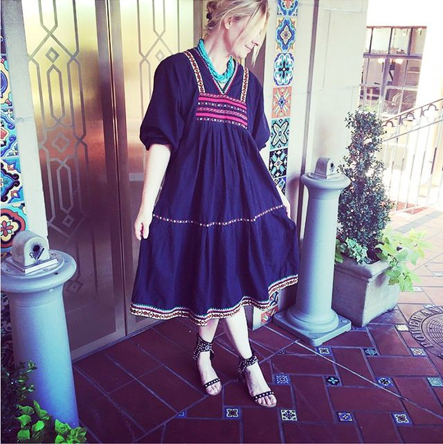 Embroidered Dress + Turquoise Necklace + Studded Sandals