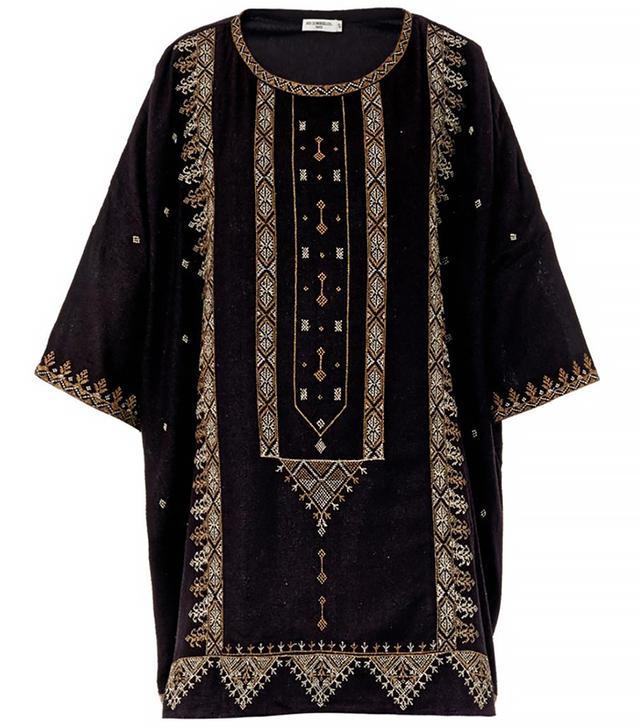 Mes Demoiselles Zephir Embroidered Textured-Silk Tunic