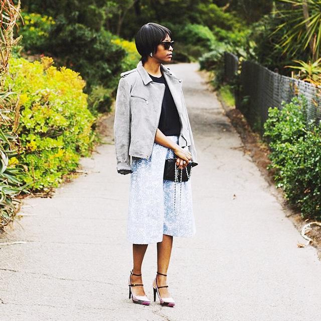Moto Jacket + A-Line Skirt + Statement Heels
