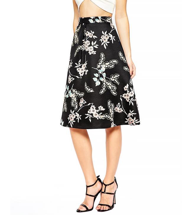 Oasis Floral Jacquard Print Skirt