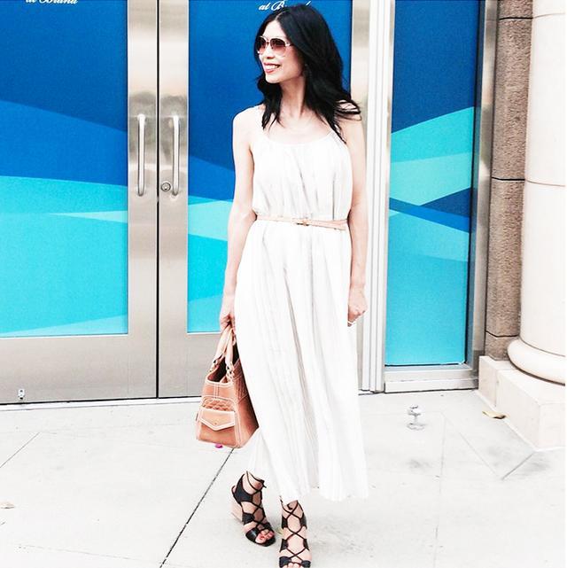 Midi Dress + Belt + Lace-Up Sandals