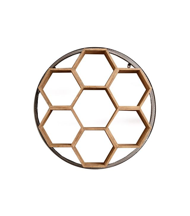 World Market Round Metal and Wood Honeycomb Wall Storage