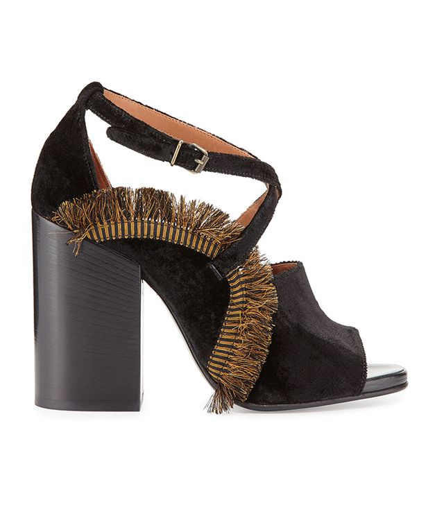 Dries van Noten Fringe-Trimmed Velvet Sandals