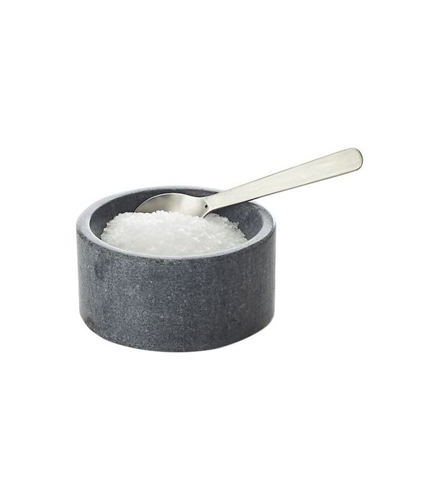 Crate & Barrel Marble Salt-Pepper Cellar With Spoon