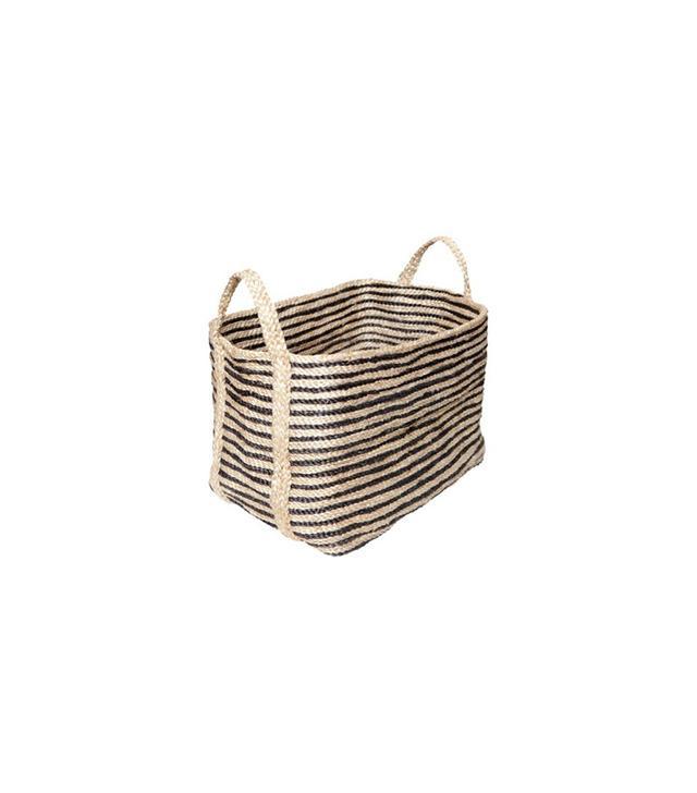 The Dharma Door USA Large Jute Floor Basket in Charcoal Stripe
