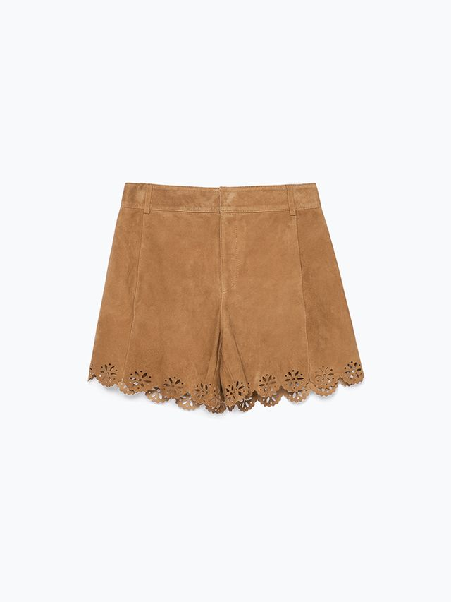 Zara Suede Cutwork Shorts