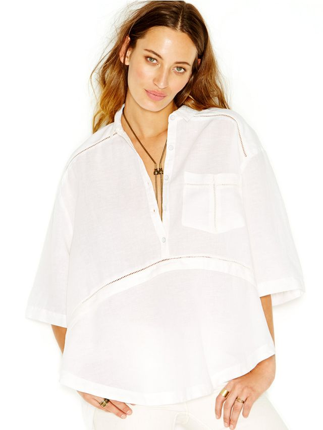 Free People Oversized Button Front Blouse
