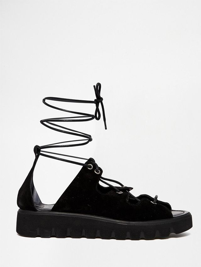 ASOS Flatten Suede Lace-Up Sandals
