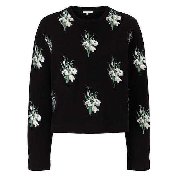 Carven Black Embroidered Floral Top