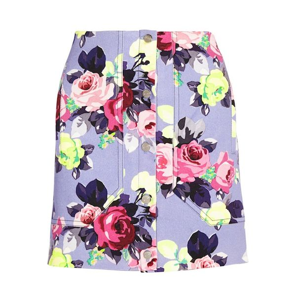 Carven Floral-Print Denim Skirt