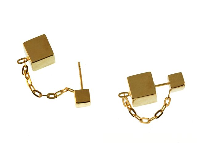 TomTom Gold Floating Cube Earrings