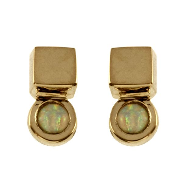 TomTom Gold Opal Cube Studs