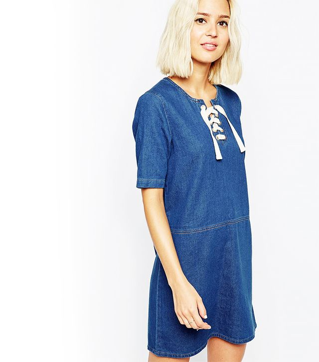 ASOS Denim Tunic Dress With Lace Up Front