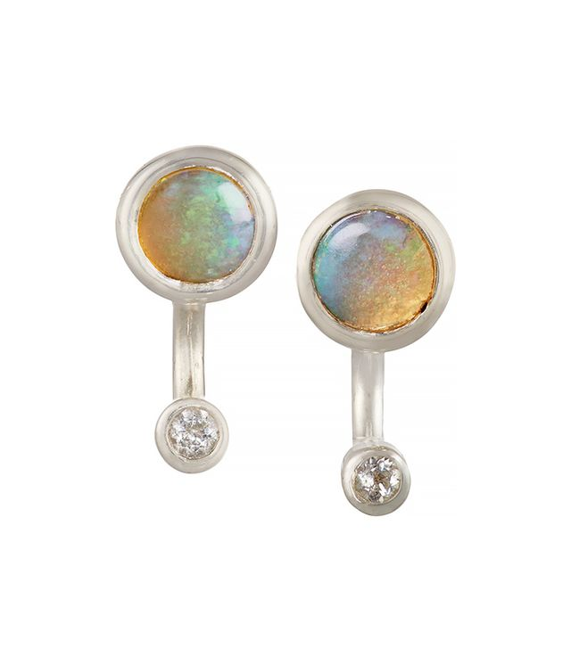 Pamela Love Gravitation Silver, Opal, and Topaz Earrings