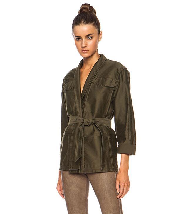 Isabel Marant John Cotton Satin Robe Wrap Jacket