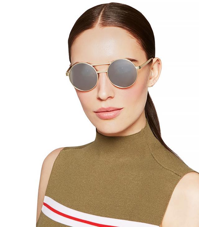Le Specs Vertigo Gold-Tone Round-Frame Mirrored Sunglasses