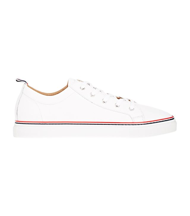 Thom Browne Grained-Leather Low-Top Sneakers