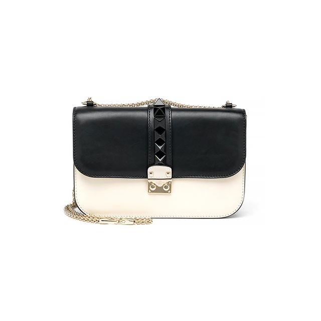 Valentino Rocklock Medium Two-Toned Leather Shoulder Bag