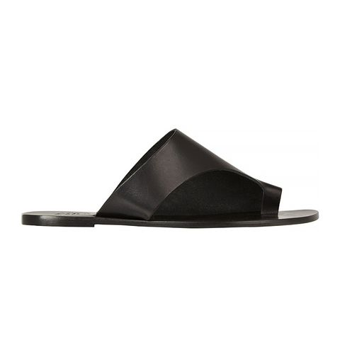 Rosa Cutout Leather Slide Sandals, Black
